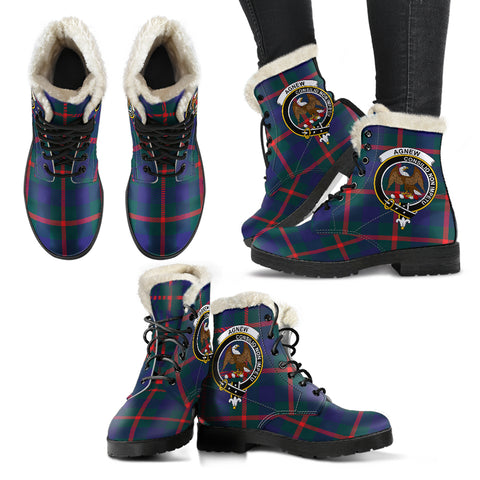 Agnew Modern  Tartan Faux Fur Leather Boots