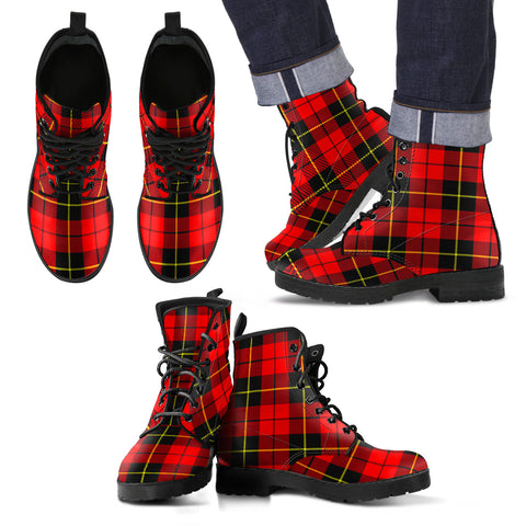 Image of Wallace Hunting - Red Tartan Leather Boots Footwear Shoes
