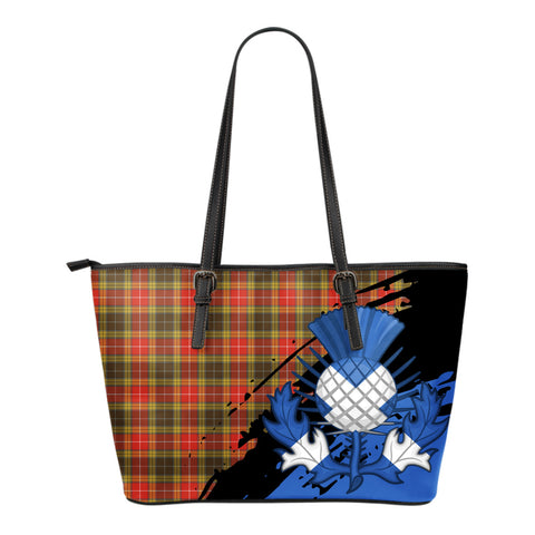 Buchanan Old Set Weathered Leather Tote Bag Small | Tartan Bags