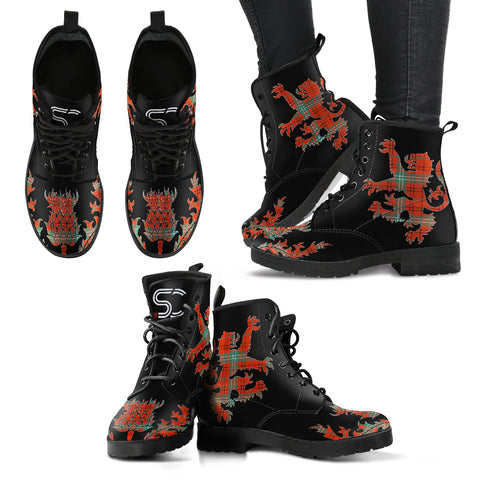 Morrison Red Ancient Tartan Leather Boots Lion And Thistle