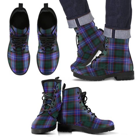 Image of Hunter Modern Tartan Leather Boots Footwear Shoes