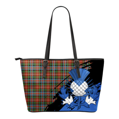 Caledonia Ancient Leather Tote Bag Small | Tartan Bags