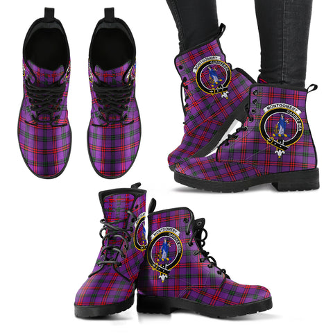 Montgomery Modern Tartan Clan Badge Leather Boots