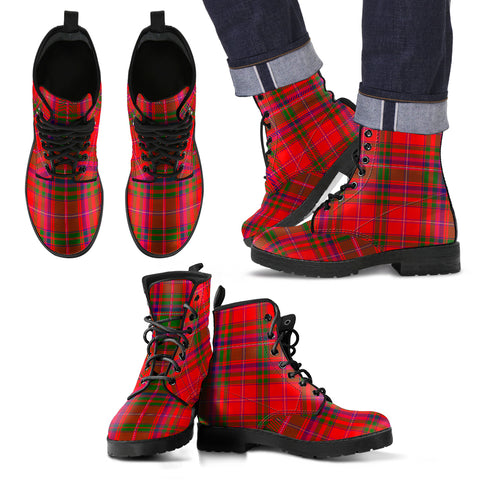 Image of MacDougall Modern Tartan Leather Boots Footwear Shoes