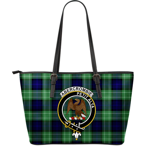 Abercrombie Tartan Clan Badge Leather Tote Bag (Large) |  Over 300 Clans And 500 Tartans | Special Custom Design