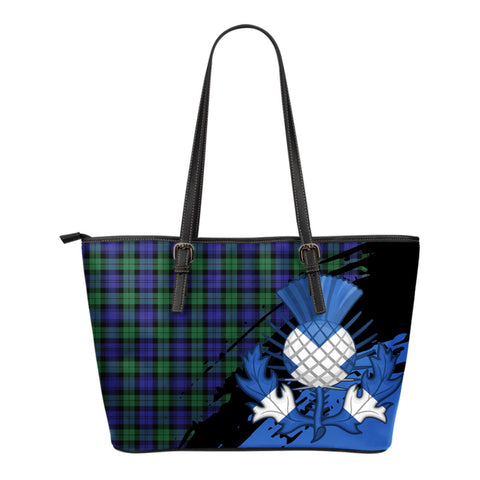 Blackwatch Modern Leather Tote Bag Small | Tartan Bags
