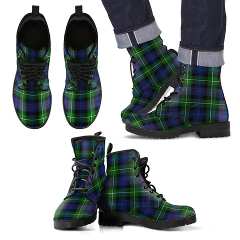 Image of MacKenzie Modern Tartan Leather Boots Footwear Shoes