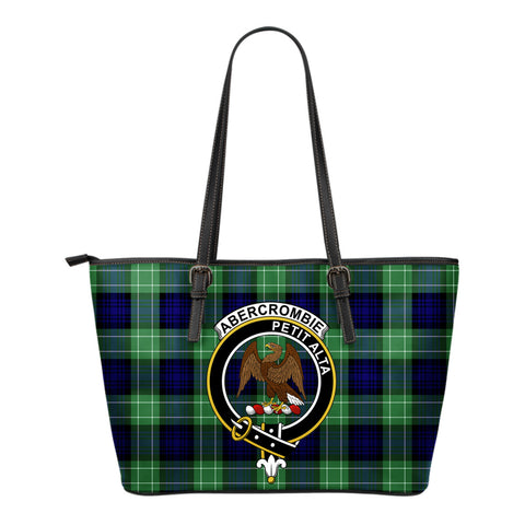 Abercrombie Tartan Clan Badge Leather Tote Bag (Small) | Over 300 Clans And 500 Tartans | Special Custom Design
