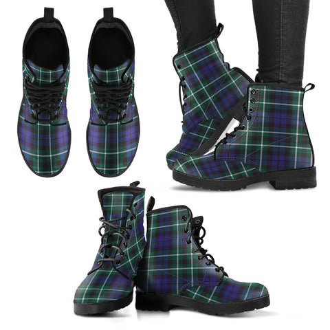 Graham of Montrose Modern Tartan Leather Boots