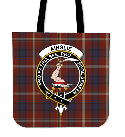 Tartan Tote Bag - Ainslie Clan Badge | Special Custom Design