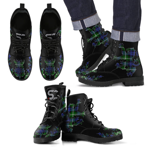 Baillie Modern Tartan Leather Boots Lion And Thistle TH8