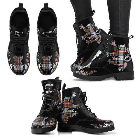 Stewart Dress Modern Tartan Leather Boots Lion And Thistle