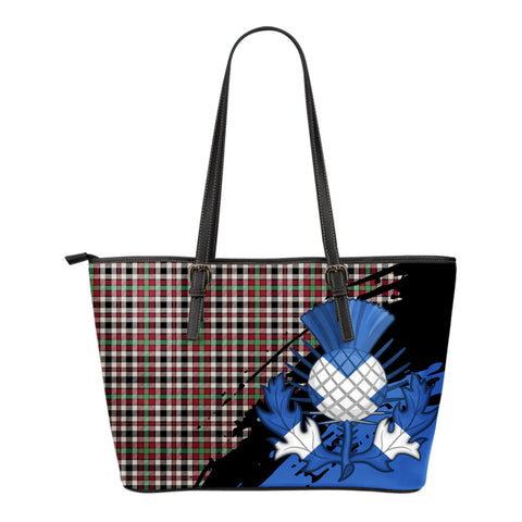 Borthwick Dress Ancient Leather Tote Bag Small | Tartan Bags