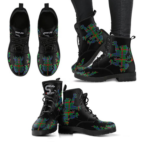 Aiton Tartan Leather Boots Lion And Thistle