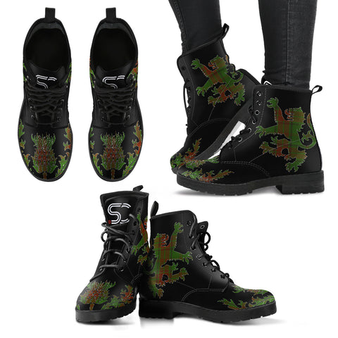 Image of Maxwell Hunting Tartan Leather Boots Lion And Thistle