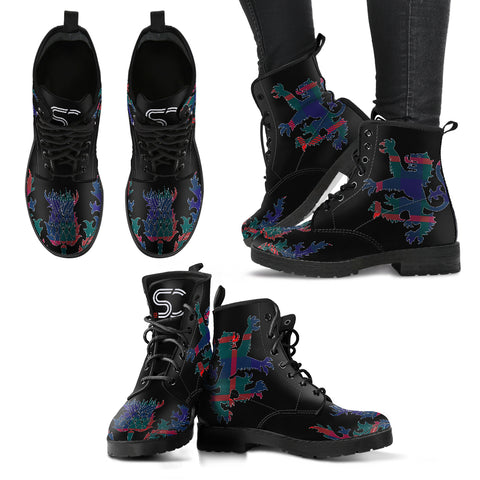 Agnew Modern Tartan Leather Boots Lion And Thistle