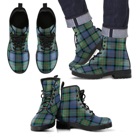 Image of MacDonnell of Glengarry Ancient Tartan Leather Boots Footwear Shoes