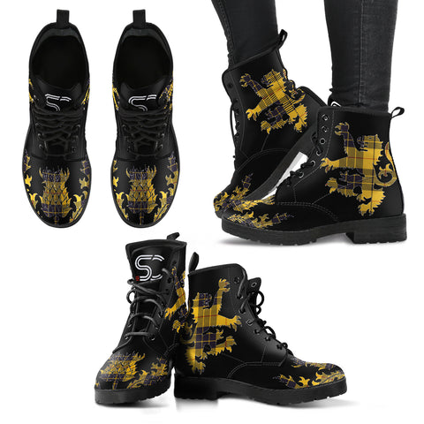 MacLeod of Lewis Ancient Tartan Leather Boots Lion And Thistle