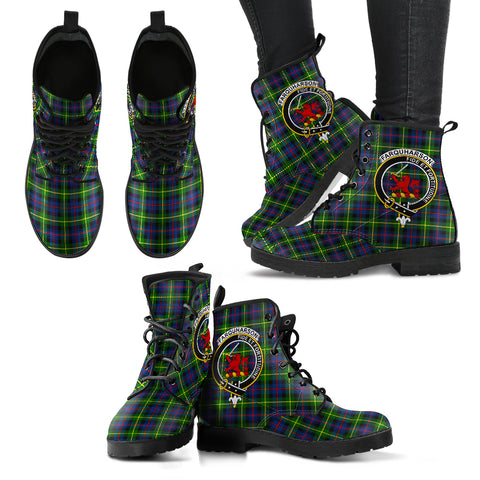 Image of Farquharson Modern Tartan Clan Badge Leather Boots