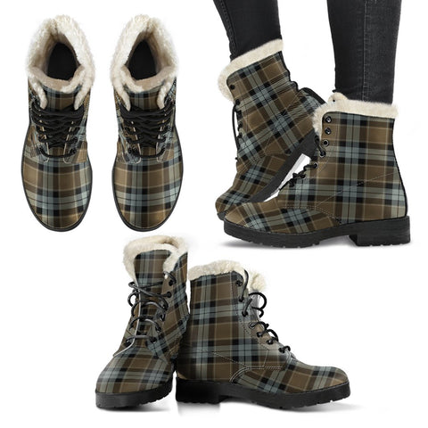 Graham Of Menteith Weathered Tartan Faux Fur Leather Boots