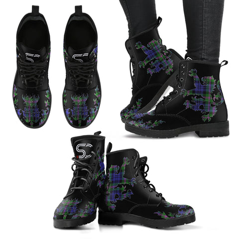 Baird Modern Tartan Leather Boots Lion And Thistle