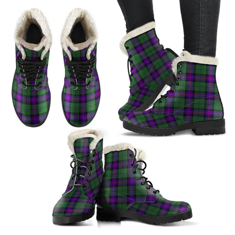 Armstrong Modern Tartan Faux Fur Leather Boots