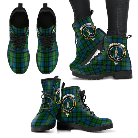 Image of MacKay Modern Tartan Clan Badge Leather Boots A9
