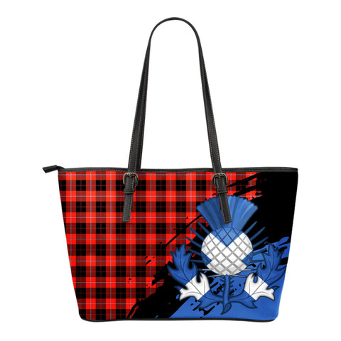 Cunningham Modern Leather Tote Bag Small | Tartan Bags