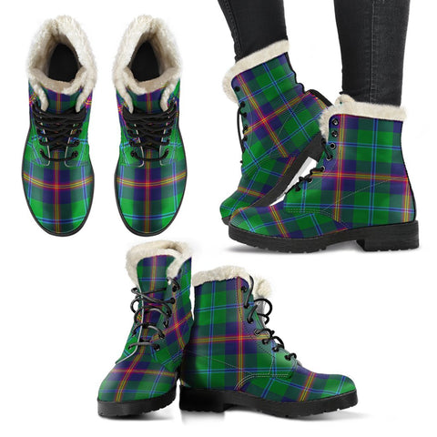 Young Modern Tartan Faux Fur Leather Boots