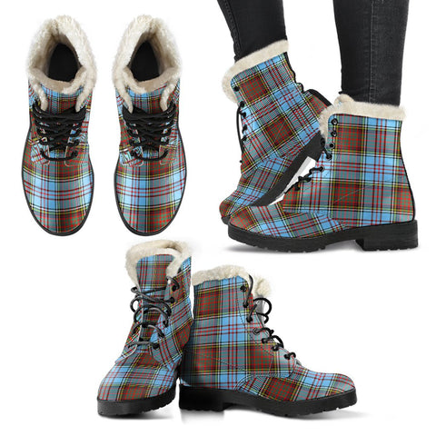 Image of Anderson Ancient Tartan Faux Fur Leather Boots