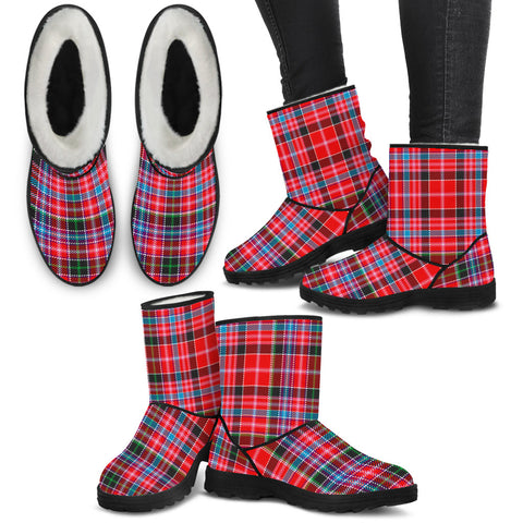 Aberdeen District Tartan Faux Fur Boots Shoes Footwear