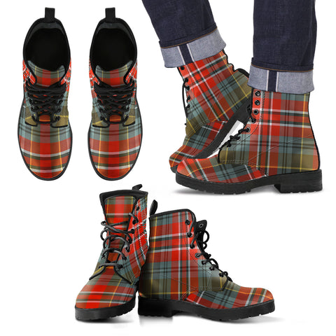 MacPherson Weathered Tartan Leather Boots Footwear Shoes
