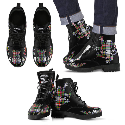 Stewart Dress Modern Tartan Leather Boots Lion And Thistle TH8