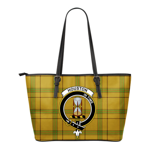 Houston Tartan Clan Badge Leather Tote Bag (Small) | Over 300 Clans And 500 Tartans | Special Custom Design