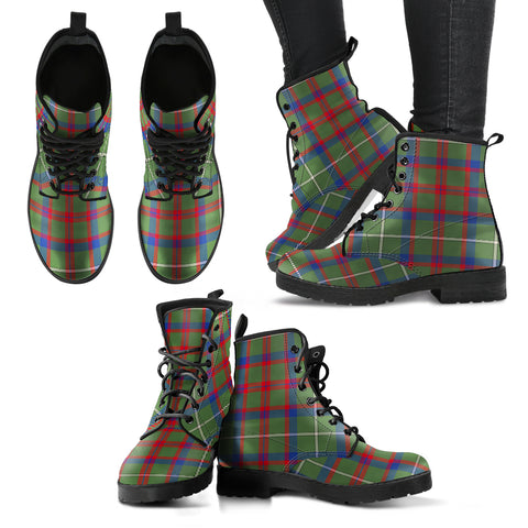 Shaw Green Modern Tartan Leather Boots A9