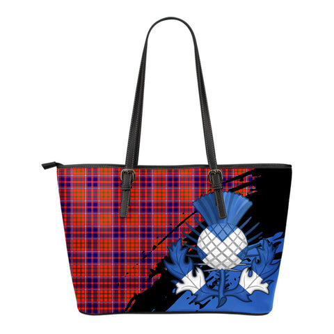 Cameron of Lochiel Modern Leather Tote Bag Small | Tartan Bags