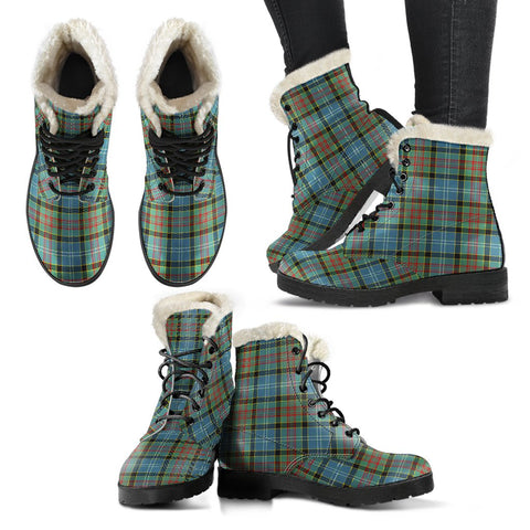 Paisley District Tartan Faux Fur Leather Boots