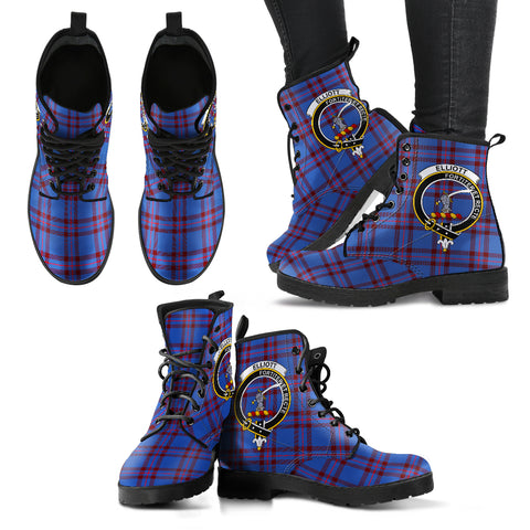 Elliot Modern Tartan Clan Badge Leather Boots A9