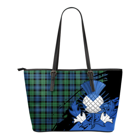 Blackwatch Ancient Leather Tote Bag Small | Tartan Bags