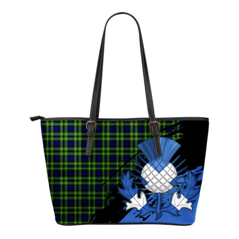 Campbell of Breadalbane Modern Leather Tote Bag Small | Tartan Bags