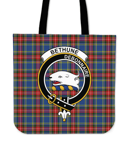 Tartan Tote Bag - Bethune Clan Badge | Special Custom Design