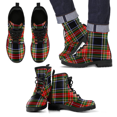 Stewart Black Tartan Leather Boots Footwear Shoes