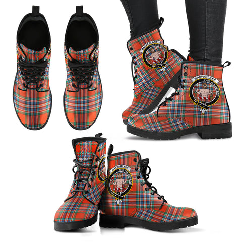 MacFarlane Ancient Tartan Clan Badge Leather Boots A9