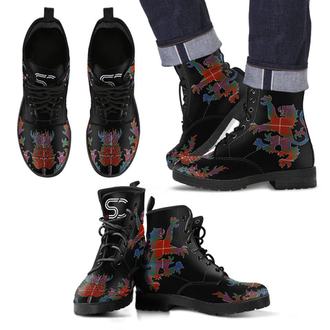 Fraser Ancient Tartan Leather Boots Lion And Thistle TH8