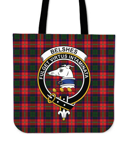 Tartan Tote Bag - Belshes Clan Badge | Special Custom Design