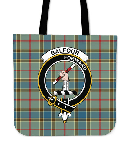 Tartan Tote Bag - Balfour Blue Clan Badge | Special Custom Design