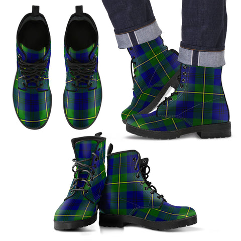 Johnston Modern Tartan Leather Boots Footwear Shoes