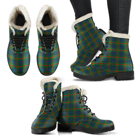 Image of Aiton Tartan Faux Fur Leather Boots