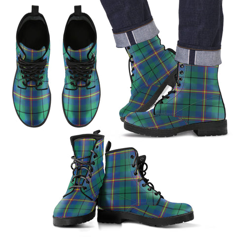 Image of Carmichael Ancient  Tartan Leather Boots Footwear Shoes