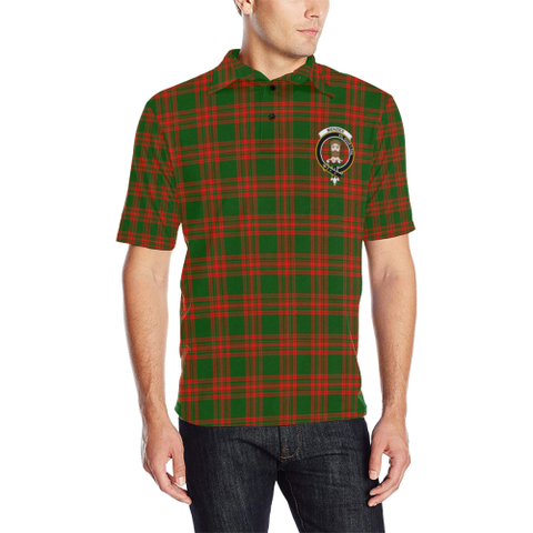 Menzies Green Modern Tartan Clan Badge Polo Shirt